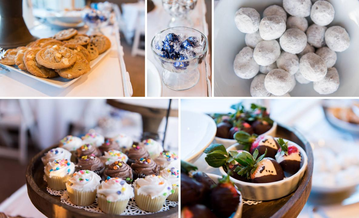Photos of the wedding desserts, including cupcakes, chocolate and cookies.
