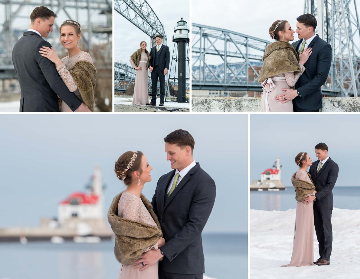 Winter wedding photos by the Aerial Lift Bridge on Lake Superior in Duluth, MN.