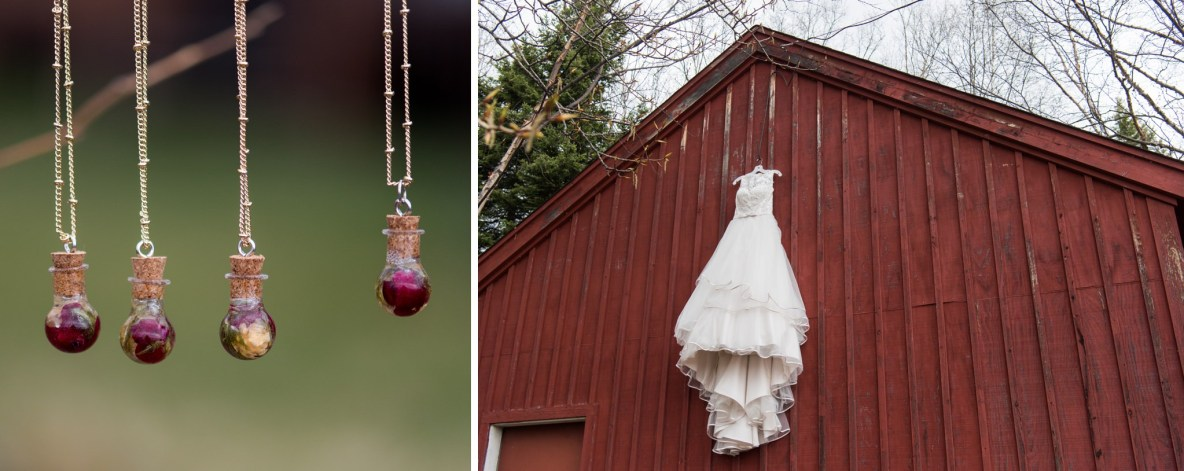 Wedding dress against red building and bridal party necklaces.
