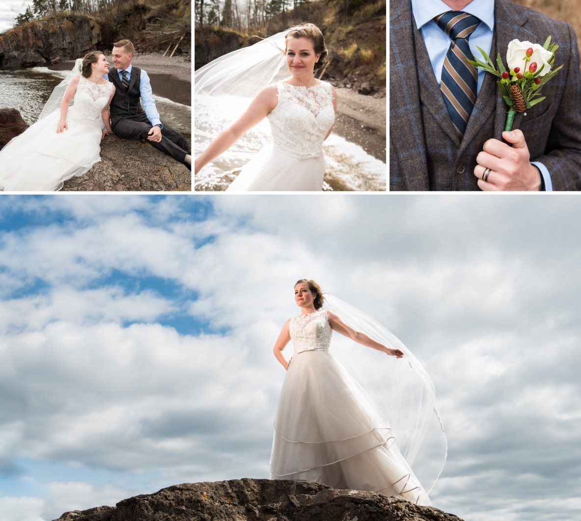Photos of the bride and groom outside with river and blue sky in background.