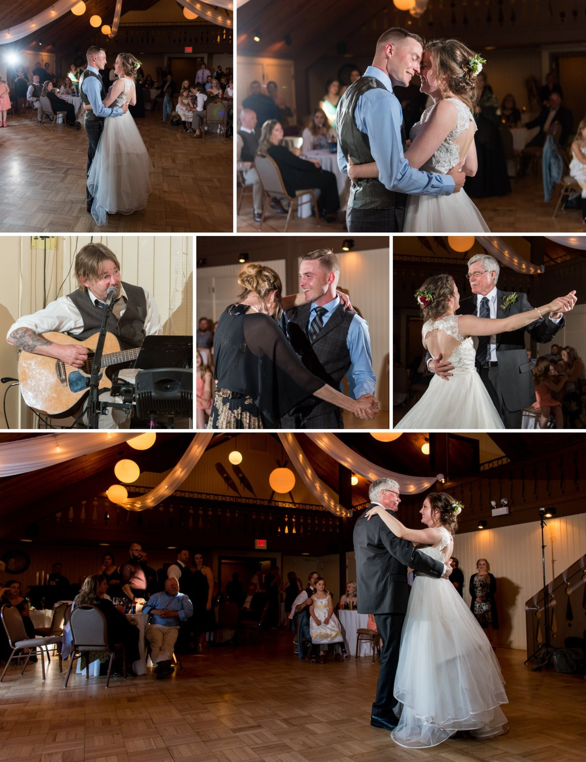 Photos of the bride dancing with the groom as well as her father at the wedding reception.
