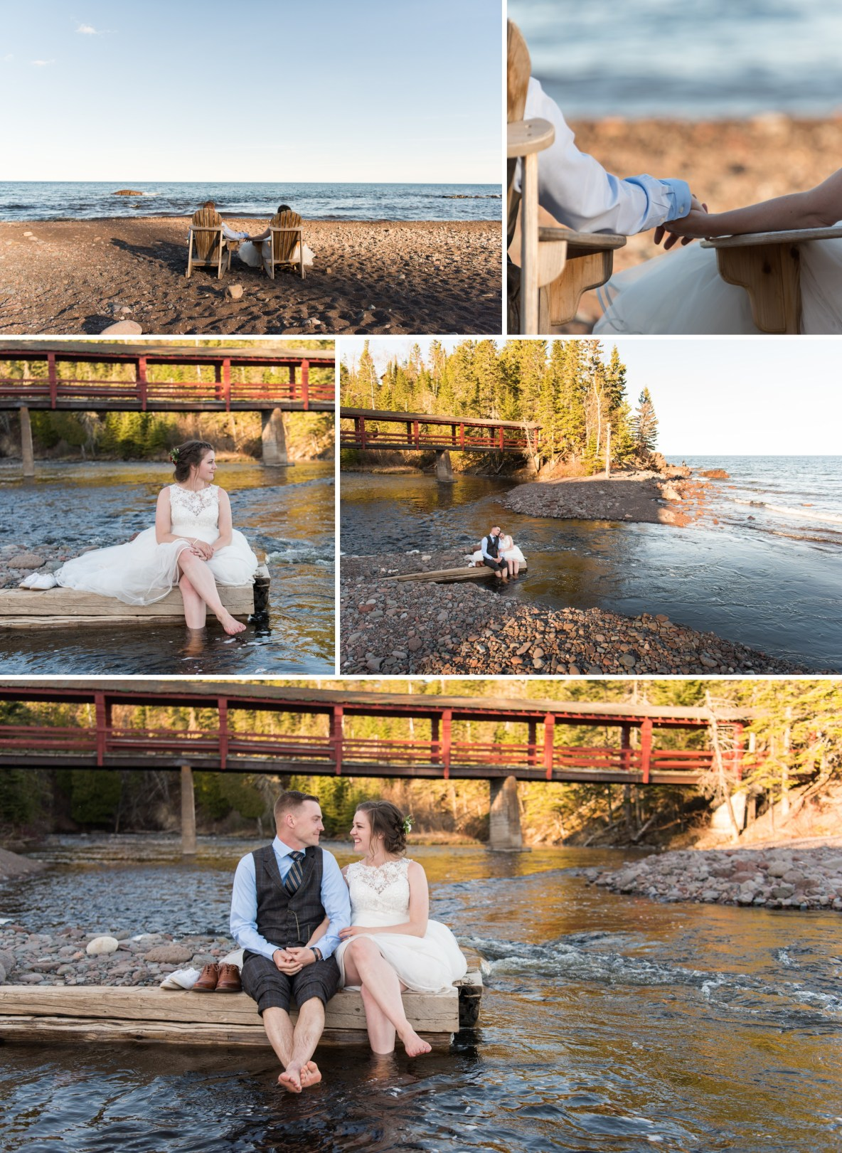 Photos of the bride and groom outside by the lake.