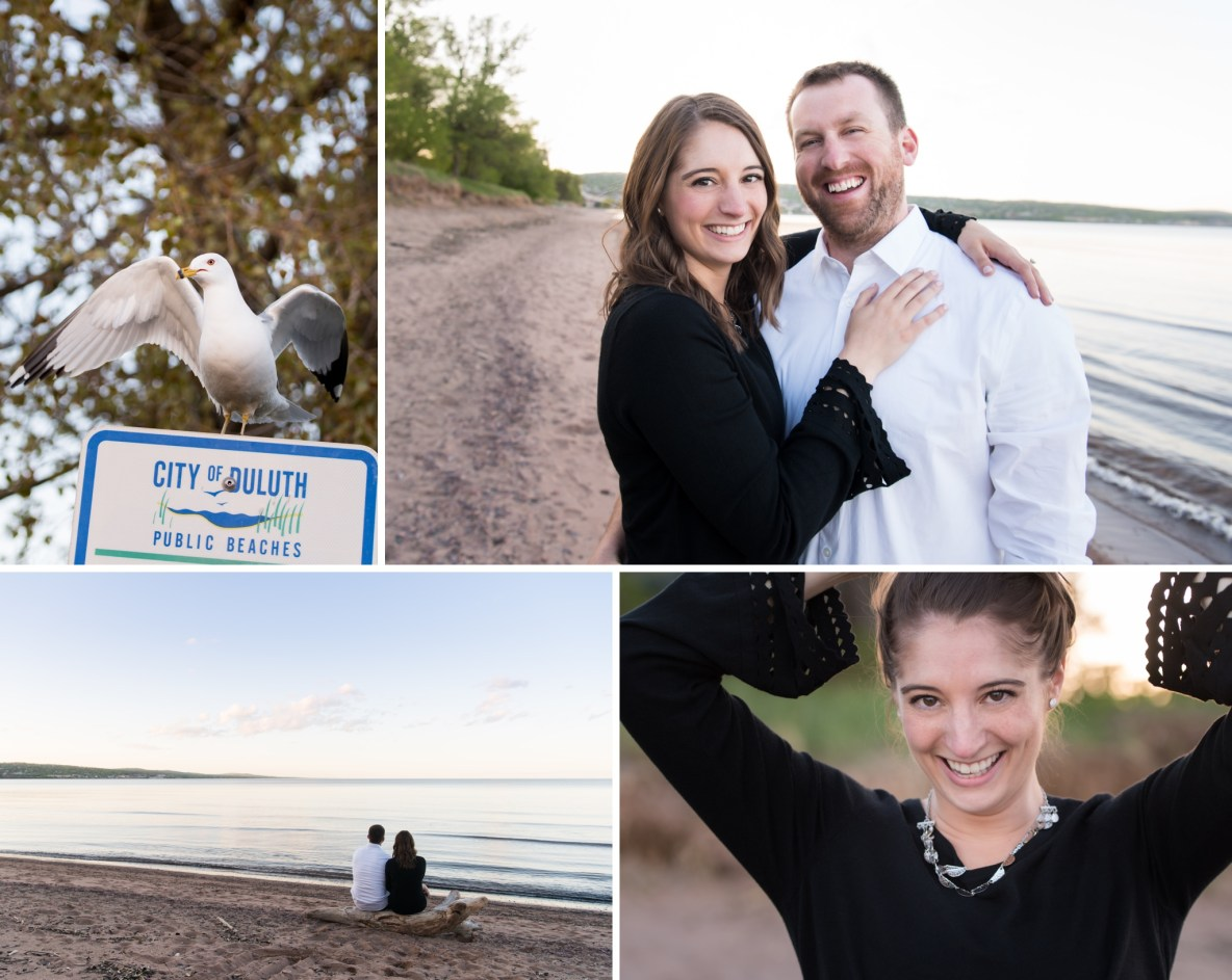 Photos of the engaged couple on the beach.