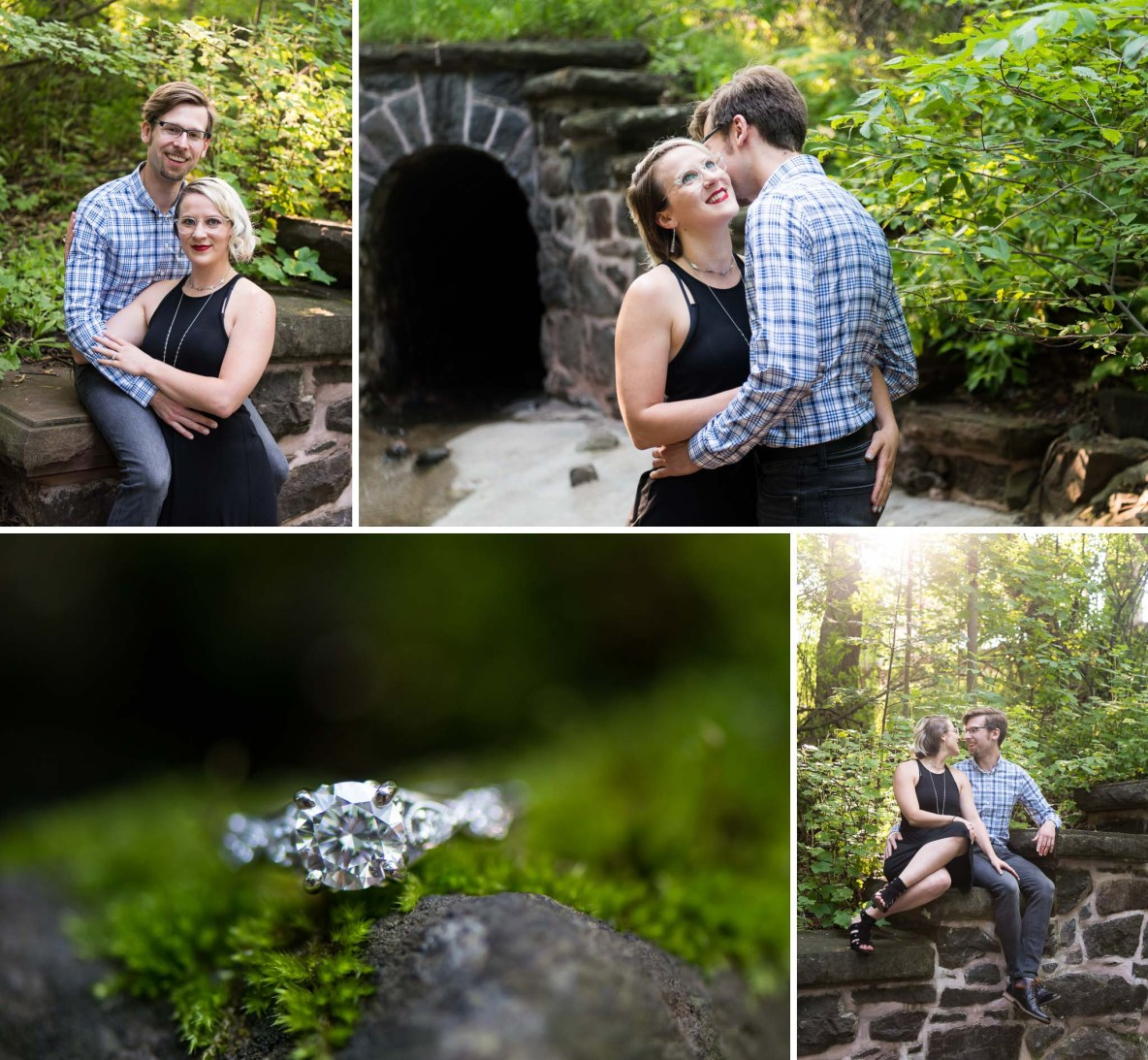 Photos of the engaged couple outside in nature.