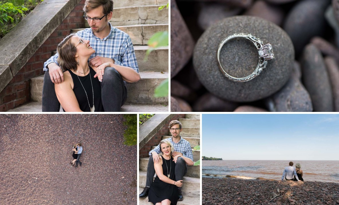 Photos of the engaged couple sitting on the beach and stairs outside.