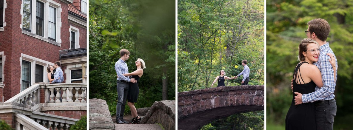 Photos of the engaged couple with green trees and red brick building in background.