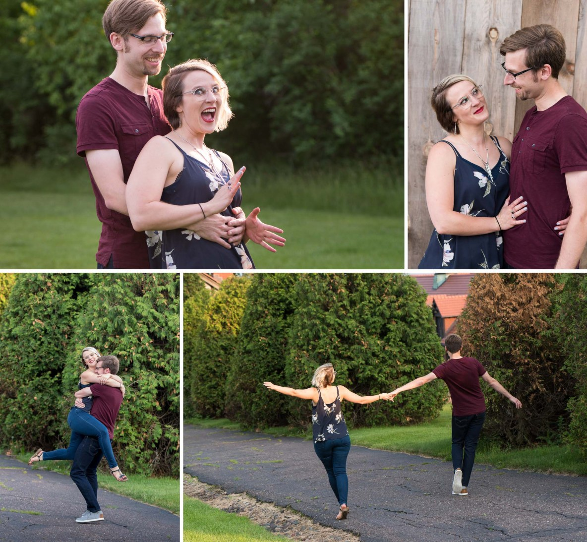 Photos of the engaged couple outside with green trees in background.