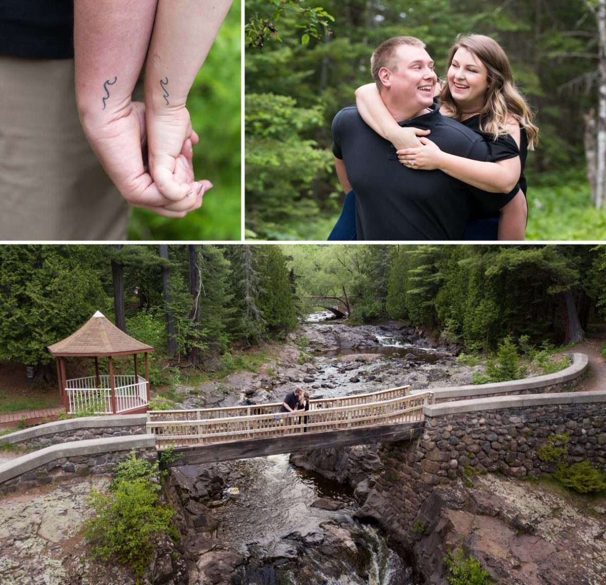 Photos of the engaged couple outside in nature with river in background.