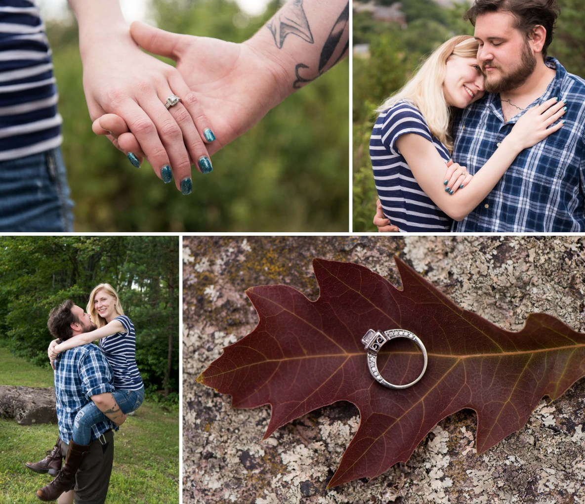 Photos of the engaged couple outside near Enger Tower.