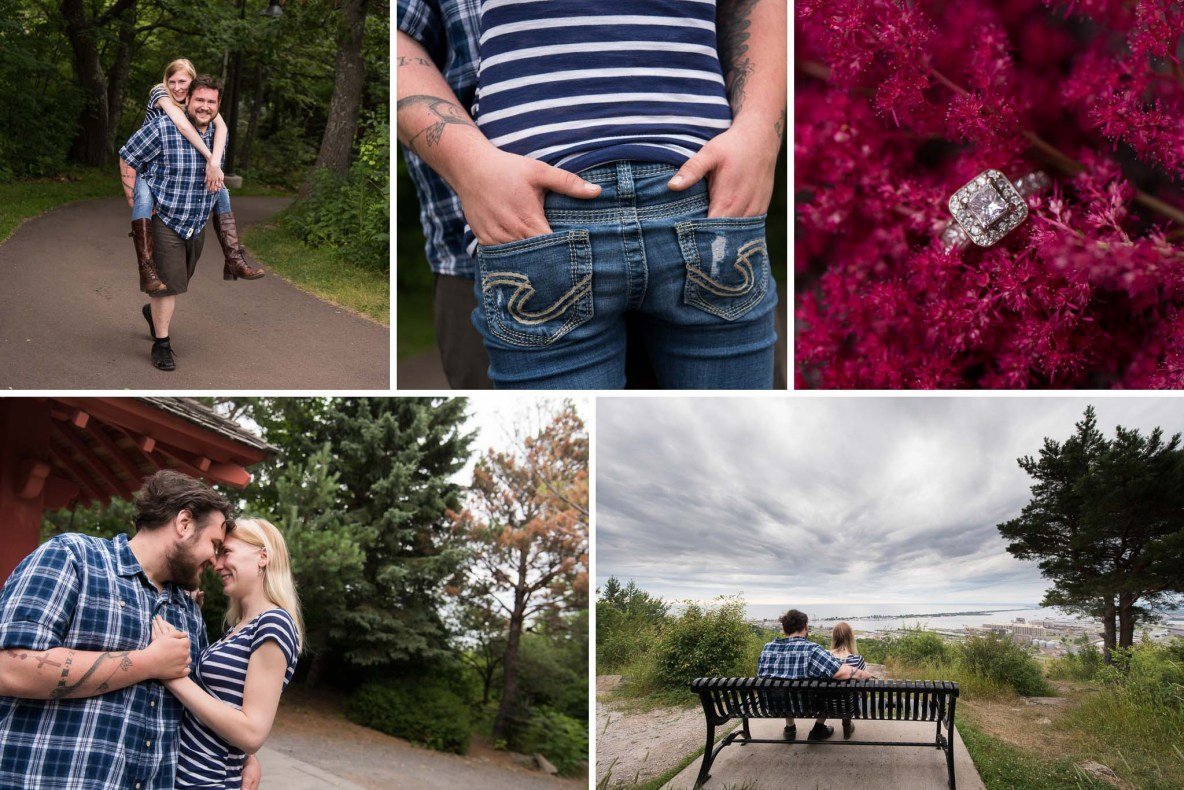 Photos of the engaged couple at Enger Tower