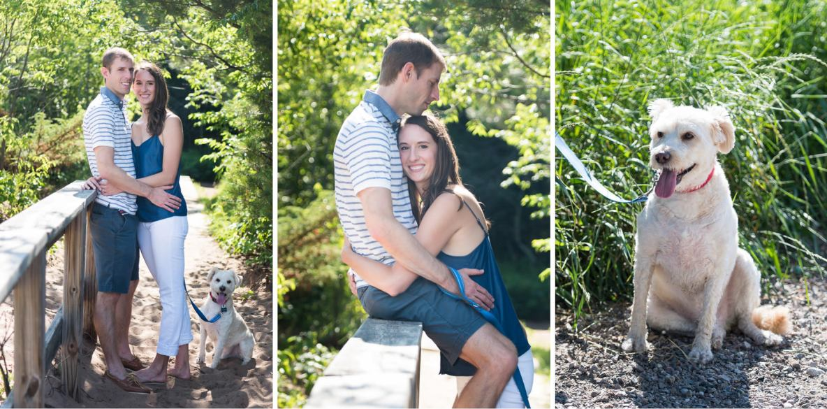 Photos of the engaged couple outside on bridge.
