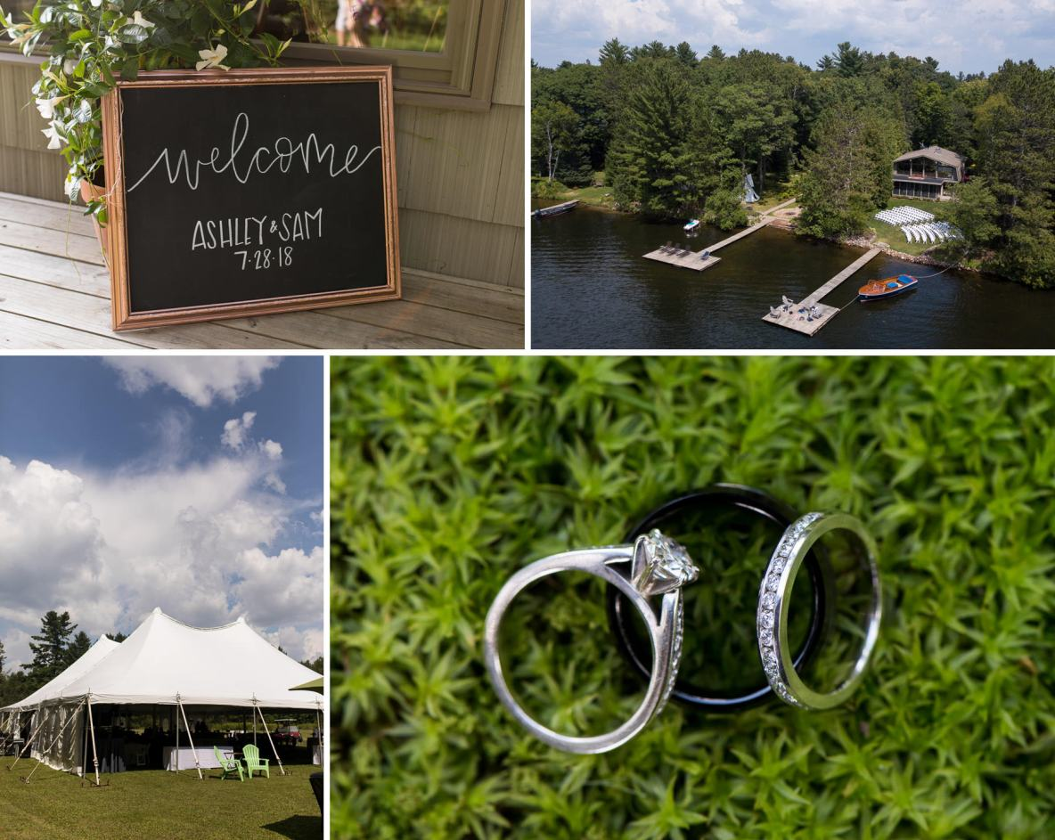 Details of the wedding day, including photos of the rings and venue.