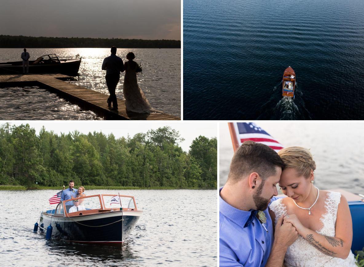 Photos of the bride and groom on a boat on Lake Superior