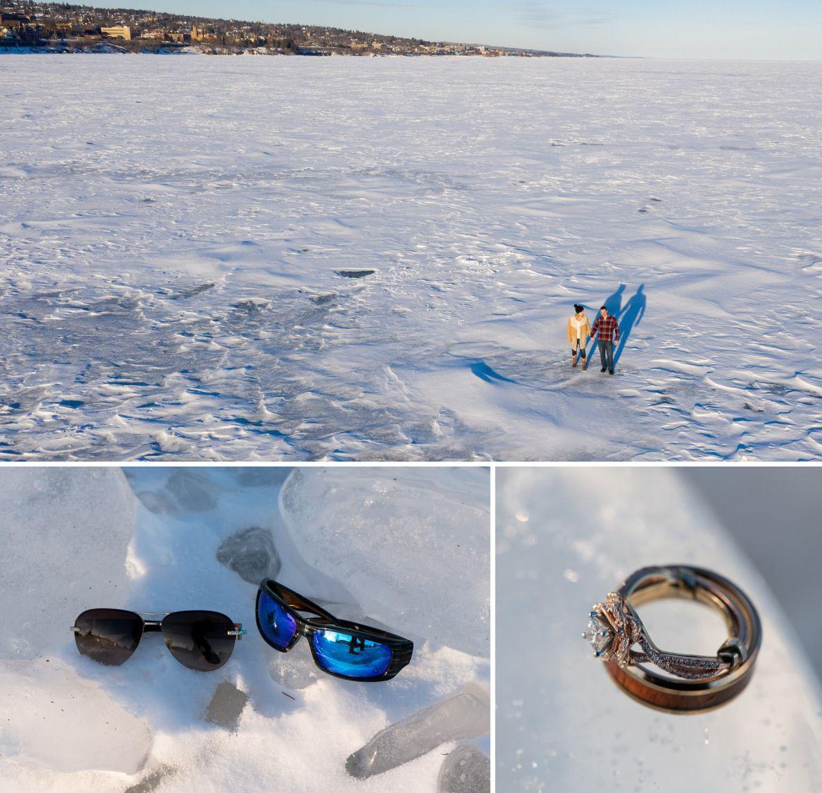 Photos of Brad and Miala on frozen Lake Superior.