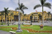 Plaza de armas in Lima, Peru during cloudy day