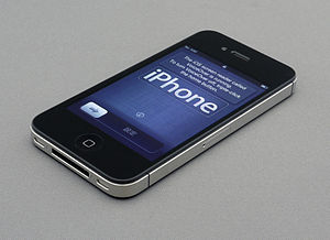 English: An iPhone 4S on its setup screen.