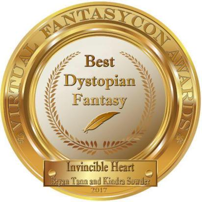 Invincible Heart won the Award for Best Dystopian Fantasy Novel for 2017 from Virtual Fantasy Con presented to Bryan Tann