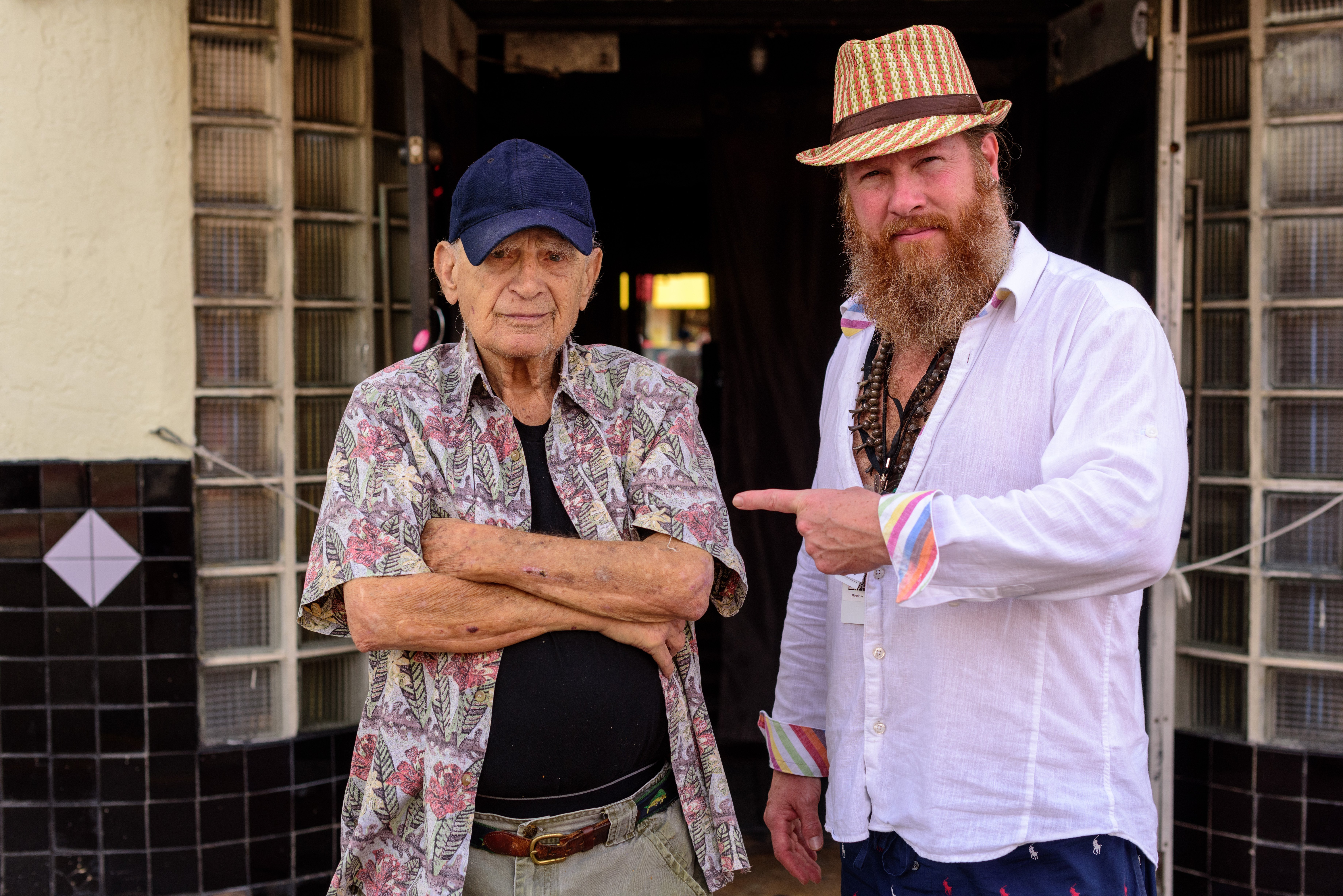 Gregory de la Haba and the 101-year-old owner Mac at Club Deuce