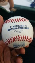 Caught a foul ball in Brooklyn. Gave it to a young fan on my way out.