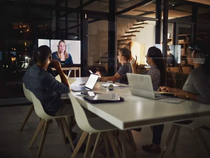 Team watching a Webinar
