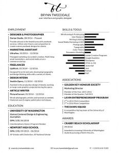 Brynn Tweeddale's Resume, 2017