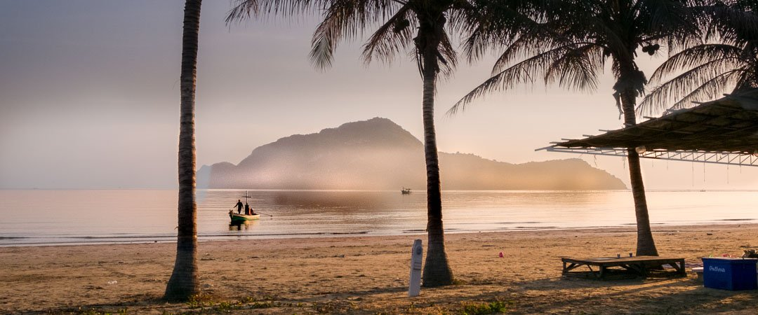 Boat landing on Sam Roi Yot Beach Thailand