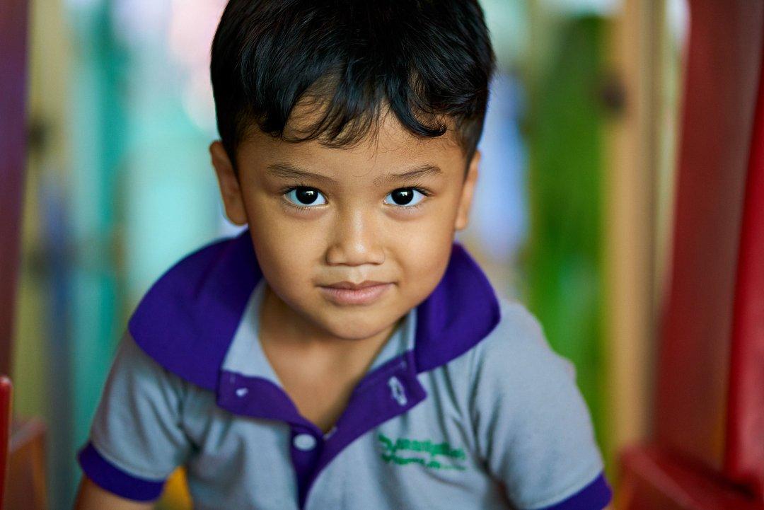 Photo of a preschool student at New Life School in Phnom Penh Cambodia.