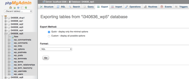 Exporting your database with phpMyAdmin