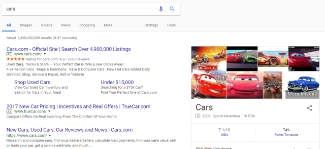 """An example of a short-tail keyword Google search """"cars"""""""