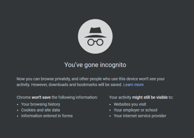 Chrome Incognito Mode
