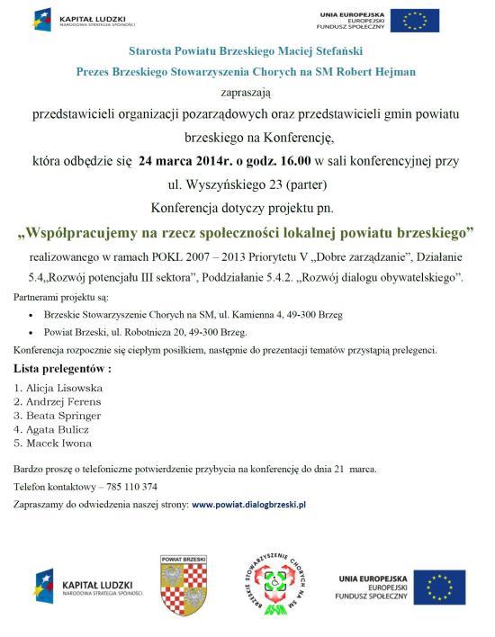 Zaproszenie na konferencję, dotyczącą projektu Współpracujemy na rzecz społeczności lokalnej powiat