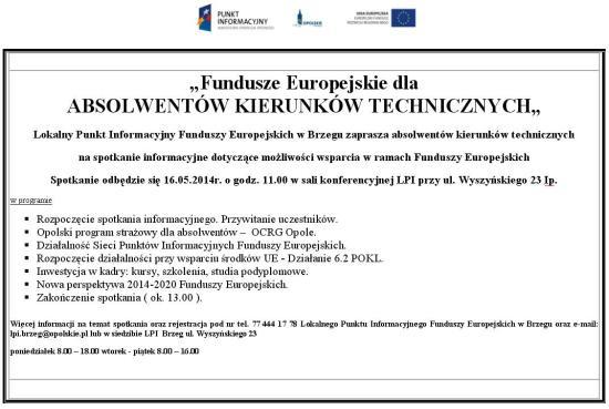 Fundusze Europejskie dla ABSOLWENTÓW KIERUNKÓW TECHNICZNYCH