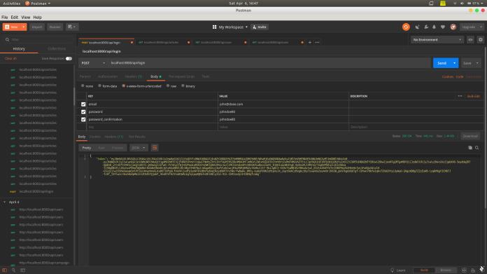 A screenshot of sending a POST request to /api/login using Postman.