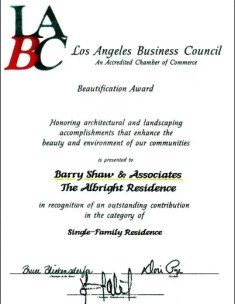 Los Angeles Beautification Award presented to Barry Shaw & Associates for Home Building West LA