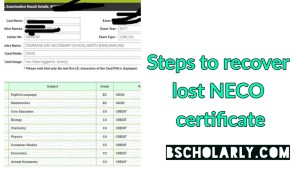 how to recover lost NECO result_certificate