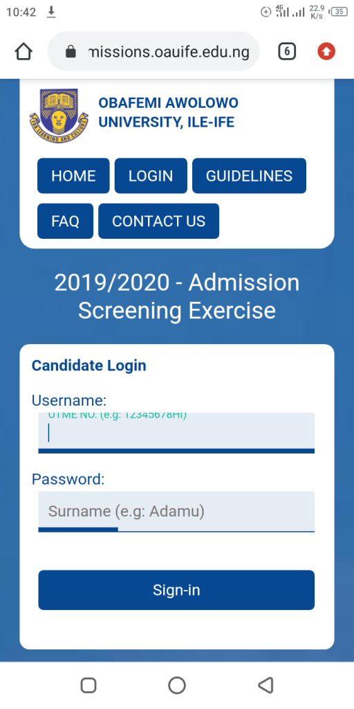 Oau post UTME registration 2020/2021