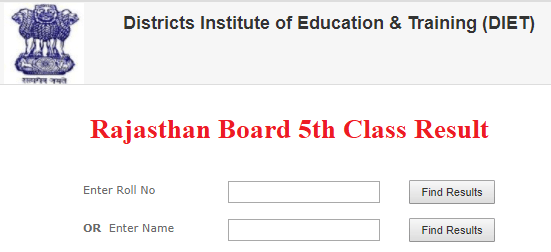 Rajasthan 5th Class Result 2021