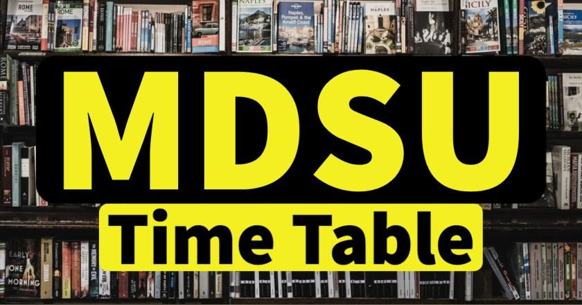 MDSU Time Table 2021