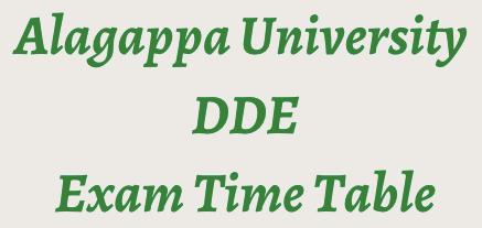 Alagappa University Time Table 2021