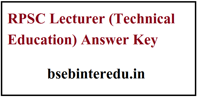 RPSC Lecturer Answer Key 2021