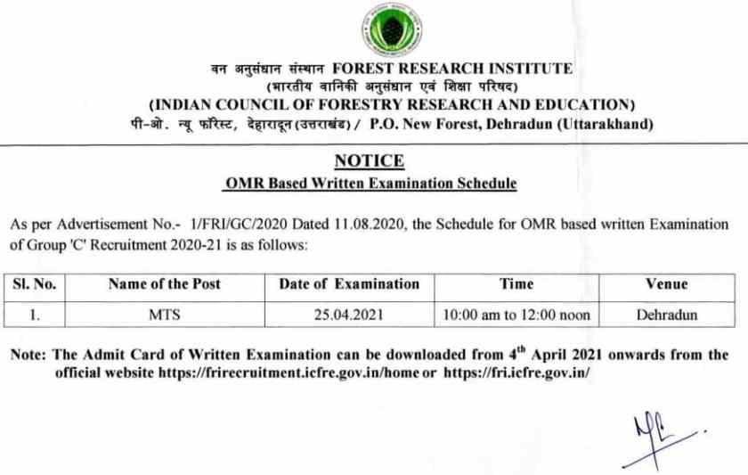 FRI MTS Exam Date 2021