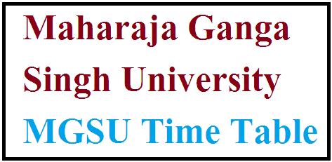 MGSU Time Table 2021
