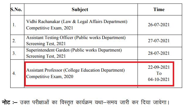 आरपीएससी सहायक प्रोफेसर परीक्षा तिथि 2021