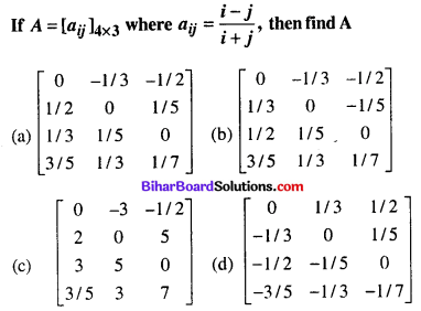 Bihar Board 12th Maths Objective Answers Chapter 3 Matrices Q1