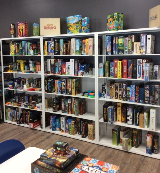 The game shelf at LVLUP Games