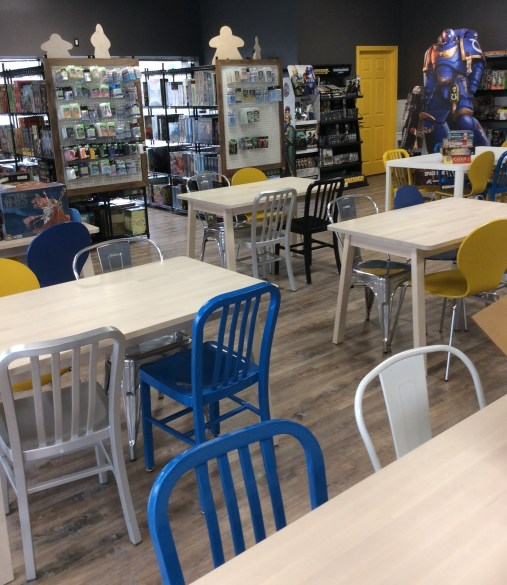 The tables and new games for purchase at LVLUP Games.