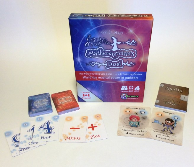 Magical Energy, Magical Symbol and Spell cards along with the box of Mathemagician's Duel!