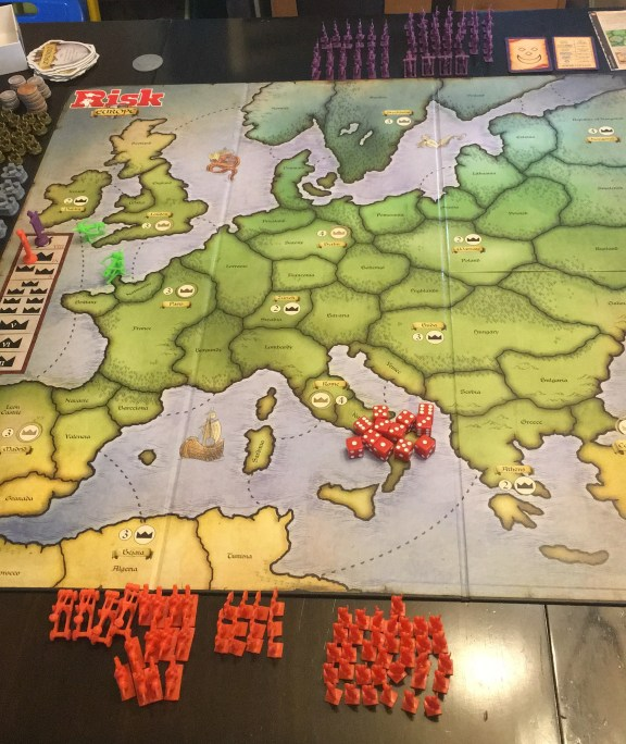 An empty Risk Europe board depicting a map of Europe.