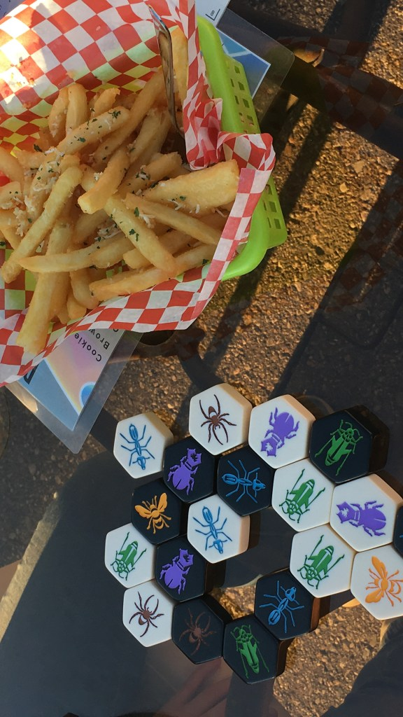 Fries and Hive on the patio