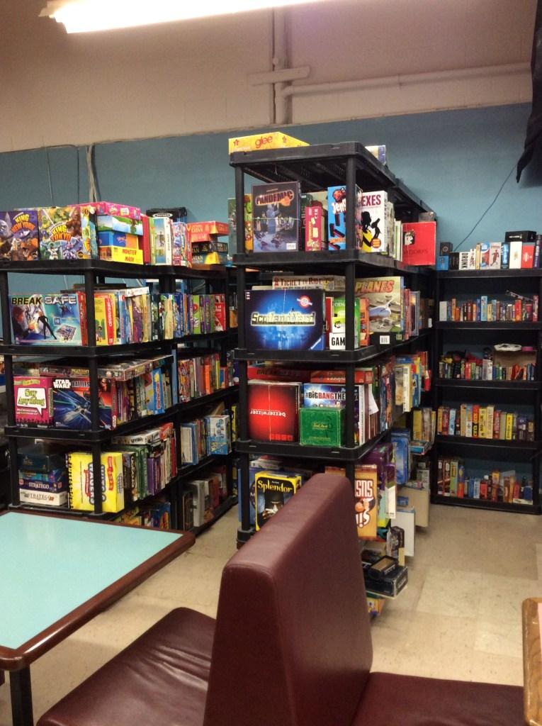 Game shelf at Dicey